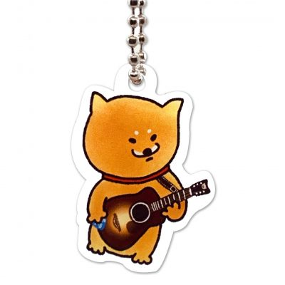 Shiba Inu Raku Keychain (Guitar)