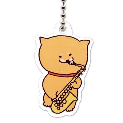 Shiba Inu Raku Keychain (Saxophone)