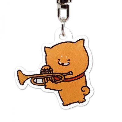 Shiba Inu Raku Keychain (Trumpet)